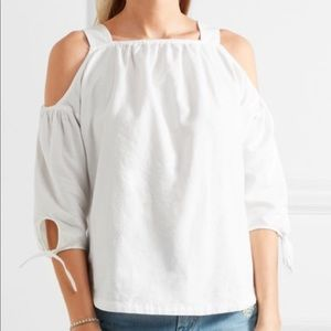 Madewell White Linen Cold Shoulder Top